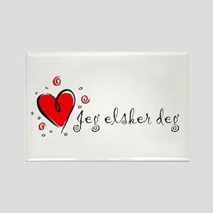 """I Love You"" [Norwegian] Rectangle Magnet"